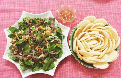 Giải nhiệt, giảm cân hiệu quả trong mùa hè với món gỏi rau má thịt bò