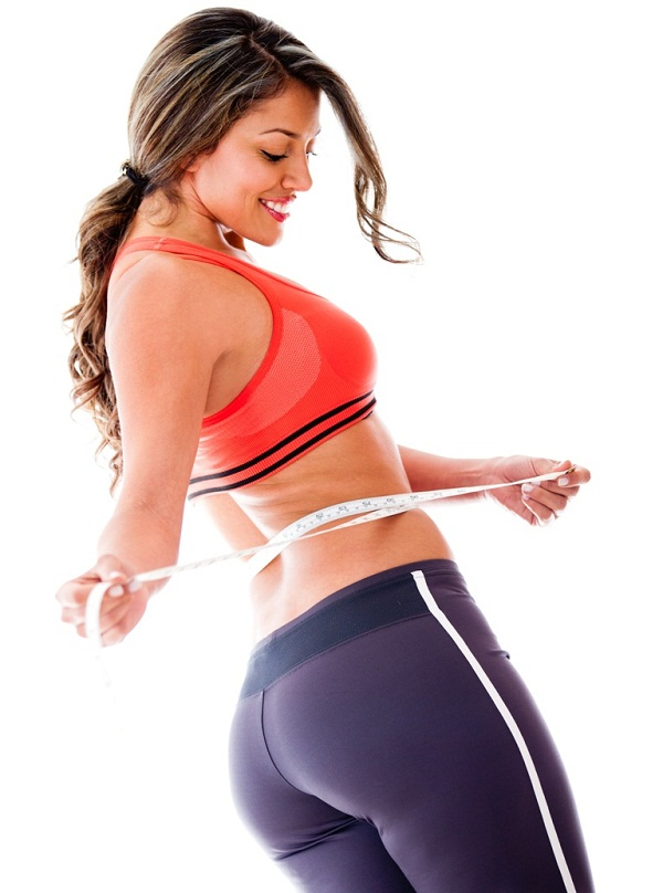 Woman taking body measurements