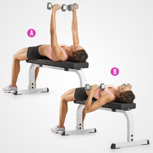 Bật mí 4 bài tập tạ tay trên bóng giúp eo thon, ngực nở4